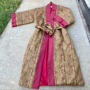 Vintage Silky Thick robe paisley Warm Floral Red